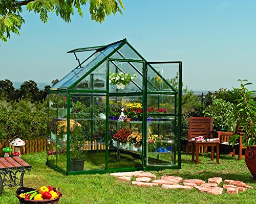 Palram Harmony Serre de Jardin- Polycarbonate Transparent, Cadre en Aluminium, Base Incluse - Verte
