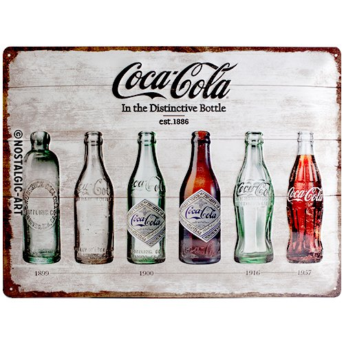 Nostalgic-Art Coca Cola Bottle Timeline - Placa Decorativa, Metal, 30 x 40 cm, Color ocres