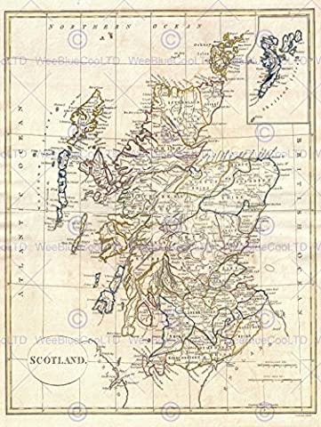 1799 CLEMENT CRUTTWELL MAP SCOTLAND VINTAGE POSTER AFFICHE ART PRINT 12x16 inch 30x40cm 2882PY