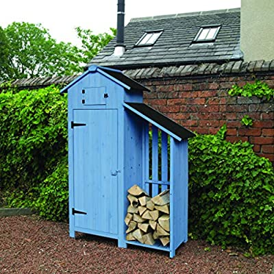 Kingfisher SHEDLS Wooden Outdoor Garden Tool Shed with Log Store, Blue, 180 x 129 x 51cm