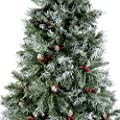 WeRChristmas Scandinavian Blue Spruce Christmas Tree includes Pine Cones and Berries with Easy Build Hinged Branches