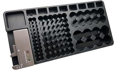 OUNONA Herausnehmbare Batterie Tester Akku Organizer Storage Box Case Halterung mit Schlitz Rack Hält 98AA AAA 9V C D Typ Batterien (Schwarz)