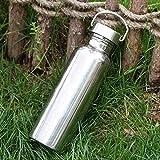 Goldyqin Voller Edelstahl Wasserflasche Wassertasse Auslaufsicheres Glas Sportflasche Für Yoga Radfahren Reiten Camping Wandern Reisen - Silber - 500ml