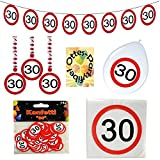 HHO 30. Geburtstag 30 Jahre Dekoset Verkehrsschild Servietten Girlande Ballons Konfetti Spiralen
