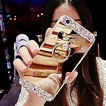 Funda para Huawei P8 Lite 2016 Cubierta en TPU, Huawei P8 Lite 2016 Espejo Funda, ETSUE Huawei P8 Lite 2016 2017 Nuevo Funda Cover Brillante Caso Shell con Amable Oso imagen Anillo función de soporte Funda con Bling Diamante Lujoso Funda Ultra-Delgada Caso del Patrón TPU de Silicona Suave Funda para Huawei P8 Lite 2016+Blue Stylus Pen+ anti del polvo casquillo - Dorado