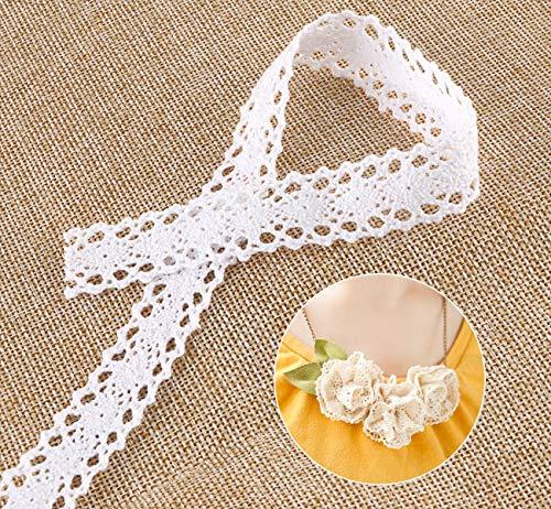 15 m Ruban dentelle vintage en coton absofine Ruban Ruban Dentelle Plastique Blanc Galon Dentelle Pour Couture Décoration de Mariage Artisanat Scrapbooking Boîte Cadeau