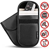 Picture Of Caseflex Car Key Signal Blocker Pouch, Pack of 2 RFID Blocking Faraday Bag Pouches for Keyless Car Theft Prevention | Signal Blocking Wallet for Car Keys & Credit Cards - PU Leather Case - Black