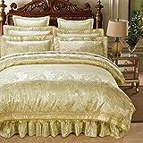 RongYao 4pcs - King/Queen lujo Jacquard Duvet Cover Set incluye una funda nórdica, dos almohadas, una hojas, beige