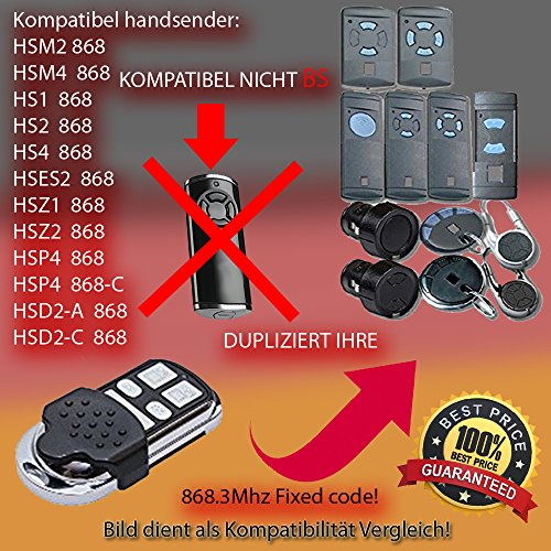 Garador Hsm2/HSM4compatible émetteur manuel, émetteur de rechange, 868.3Mhz Fixed CODE