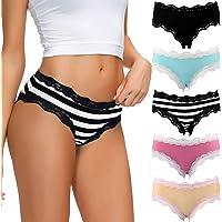 COMSOFT sous-vêtements en Coton Femme Culottes Dentelle Douce Culotte Hipster Multicolore