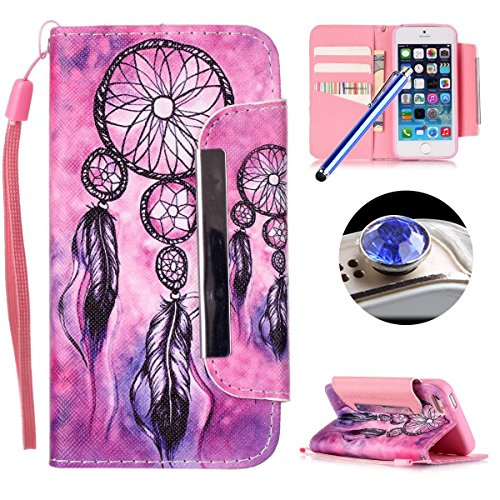 Apple iPhone SE,iPhone 5/5S Coque,Etsue Fine Folio PU Cuir Coque Coloré Motif Case de Téléphone Mobile pour Apple iPhone SE,iPhone 5/5S[Chine],Porte-carte Support Fermeture Aimantée Portefeuille Poche Retro Campancle