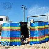 FB FunkyBuys Paravent de vacances pour plage, camping, caravane avec motif rayures et 4, 5, 6, 8 ou 10 piquets, protège du vent et du soleil, Red,Green,Pink,Yellow,Blue,Navu,Multi-Color, 5 Poles (4 Panels)