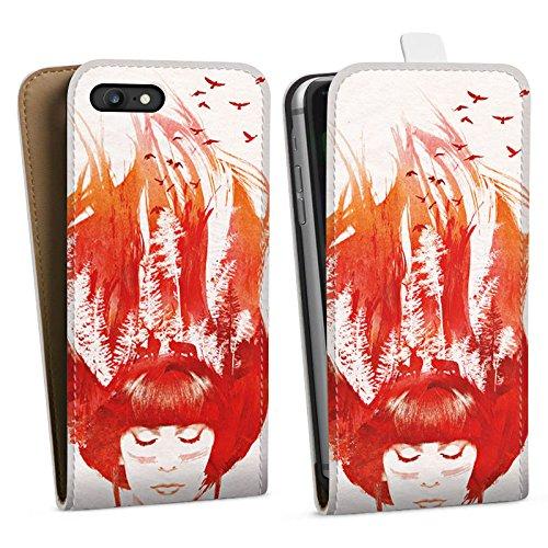 Apple iPhone X Silikon Hülle Case Schutzhülle Mädchen Haare Natur Downflip Tasche weiß