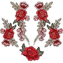 Rovtop 5 Stück Aufnäher Rose Blume Stickerei Applikation Patches für Dekor T-Shirt Jeans Hut
