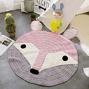 VClife® Teppich Kinderzimmer Schlafzimmer Wohnzimmer Boden Babyzimmer Dekoration Kinderteppich Spielteppich Manuell Polyester Gestrickt Weich Geschenk etwa 80 x 80cm Fuchs