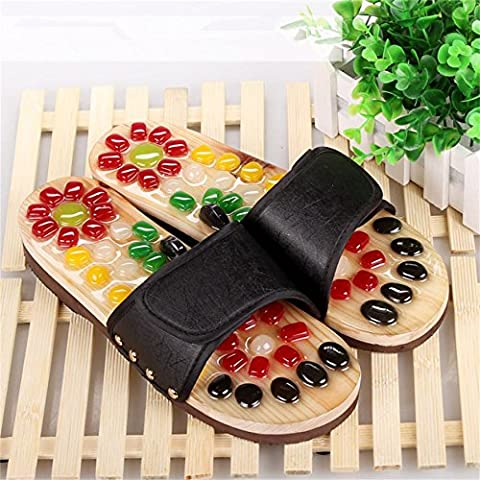 ZHLONG Uomo che massaggia pantofole piede punto salute naturale ghiaia massaggio pedicure pantofole , black , 41 - Grande Punto Di Sonno Cozy
