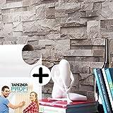 Steintapete Vliestapete Grau , schöne edle Tapete im Steinmauer Design , moderne 3D Optik für Wohnzimmer, Schlafzimmer oder Küche inklusive der Newroom Tapezier Profibroschüre mit Tipps für perfekte Wände