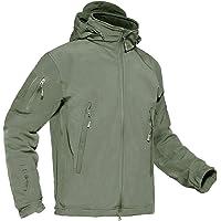 KEFITEVD Men's Waterproof Tactical Fleece Jackets Soft Shell Combat Jacket Raincoat with Detachable Foldaway Hood