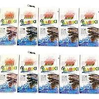 10 paquetes BULK rojo pescado piel sabiki aparejos de pesca cebo con ganchos – Juego de