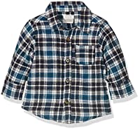 Mamas & Papas Baby Boys 0-24m Brushed Check Shirt, Multicoloured (Brown Check), 0-3 Months