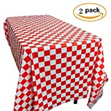 Yooyee Red and White Plastic Checkered Tablecloths, Disposable Party Table Covers - Picnic Party Decoration, 2 Pack