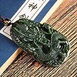 WOkismx Nuevo Collar De Jaspe Natural para Hombres Dominante Zodiaco Dragón Jade Colgante De Zafiro Verde Cadena De Clavícula Joyería Diosa Regalo
