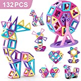 nicknack Magnetico Costruzione Blocchi Bambini 132 Pezzi Giocattoli magnetici, Giochi per Giocattoli Regalo con Borsa Portatile per 3 4 5 6 Anni Ragazzi e Ragazze