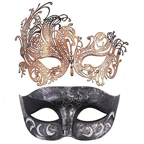 Thmyo 2 Pack Venezianische Masquerade Maske für Paare, Mardi Gras Halloween Ball Maske (Antikes Silber Schwarz & Roségold) (Erstaunlich Paare Halloween-kostüme)