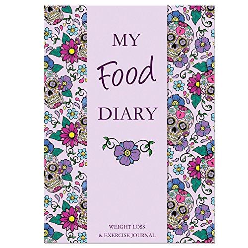 Abnehmen Tagebuch, A5Ernährung Diary Gewicht Verlust und Bewegung Tagebuch, Lebensmittel Diary kompatibel mit Ernährung Pläne inkl. Slimming World, Weight Watchers & Kalorien zählen, lila Totenkopf, SS (Von Fett-verlust Kalorien)