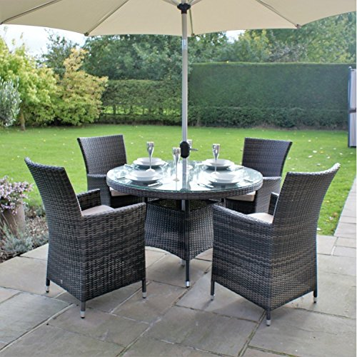 San Diego Baby Rattan Garden Furniture Brown 4 Seater Round Table Set Garde