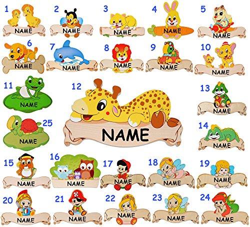 """Holz - Namensschild / Wandbild / Türschild - """" süßes Pferd mit Fohlen """" - incl. Name - selbstklebend - für Kinderzimmer / oder Haustier Hundehütte - Tiere für Kinder Tier - Pferde / Stute Hengst - Reiter Wallach - personalisiert - Schild - Türschilder - Wandtattoo Bilder Namensschilder / Baby - Namen - Tür - Dekoschild - Wandschild"""