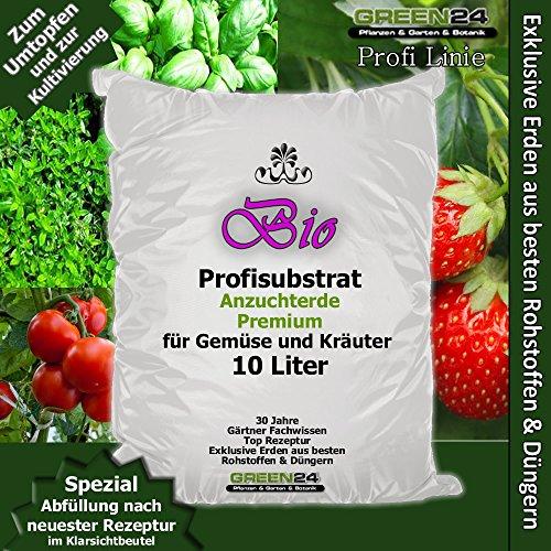 Erde Kräuter (Bio-Anzuchterde Premium für Gemüse und Kräuter Aussaaterde Saaterde 10 Ltr. - PROFI LINIE Substrat - Gemüseerde Kräutererde)