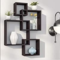 Amazing Shoppee Intersecting Wall Mount Wall Shelf Four Wall Shelves for Living Room (Standard, Elegant Black)
