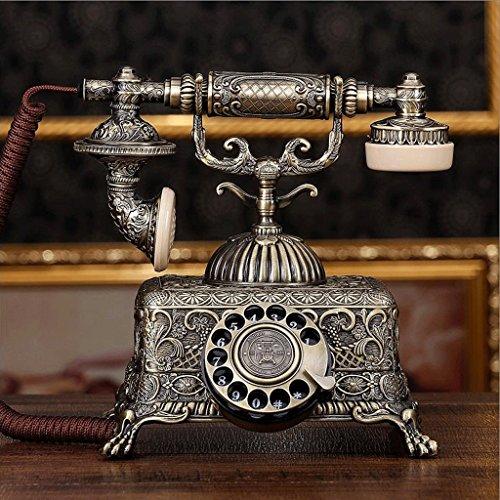 WXL Metall Zifferblatt antikes Telefon Retro Tuch Seil europäischen Wohnzimmer Schlafzimmer Retro Festnetz-Telefon mechanische Klingeltöne (Design : Metal dialpad)