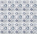 infactory 3D Mosaikfliesen-Kleber: Selbstklebende 3D-Bordüre-Fliesenaufkleber, blau, 30 x 20 cm, 15er-Set (Wandverkleidung-Aufkleber)