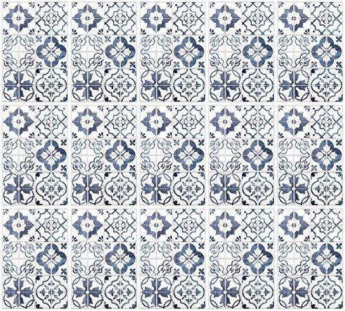 infactory Design-Fliesenfolien: Selbstklebende 3D-Bordüre-Fliesenaufkleber, Blau, 30 x 20 cm, 15er-Set (Wandverkleidungs-Aufkleber)