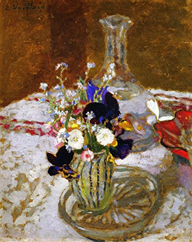 Pansy Bouquet (Bouquet Of Pansies, Myosotis And Daisies In Front Of A Carafe, On A Table - By Edouard Vui - Leinwanddrucke 20x25 Inch Ungerahmt)