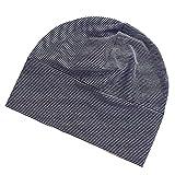 Phenovo Adult Unisex All Cotton Night Cap Sleep Eyecover Striped Headcap Black White