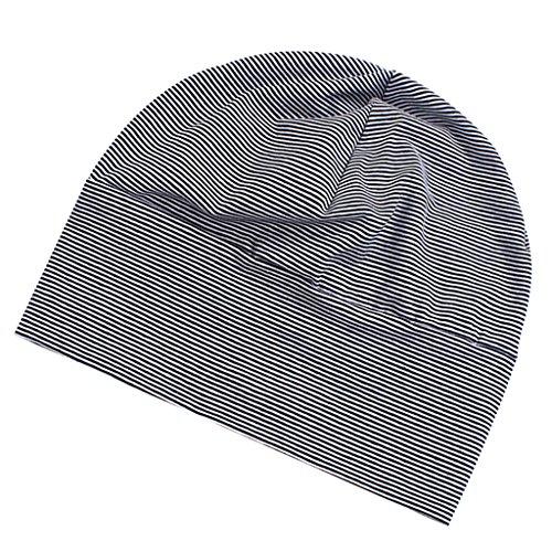 Erwachsene Unisex Mütze Mütze Baumwolle gestreift langer Jersey Beanie Mütze Hut...