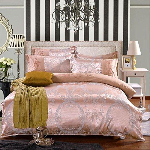 Europea lussuosa biancheria da letto in raso Tencel Jacquard cotone Tencel quattro 4 pezzi copripiumino set-Queen , 03