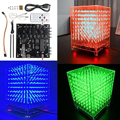 Arduino 8x 8x 8LED rosso verde blu MP3Musica Spettro 3d luce cubo quadrato Kit principianti elettronica Board