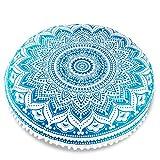 Mandala Life ART Bohemianisches Yoga Kissenbezug - rundes Dekokissen - Meditationskissen im Mandala Design - 75cm - Flurkissen aus handbemalter naturalen Baumwolle (Blau Lotus)
