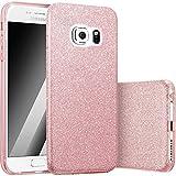 FINOO | Samsung Galaxy S6 Rundum 3 in 1 Glitzer Bling Bling Handy-Hülle | Silikon Schutz-hülle + Glitzer + PP Hülle | Weicher TPU Bumper Case Cover | Pink