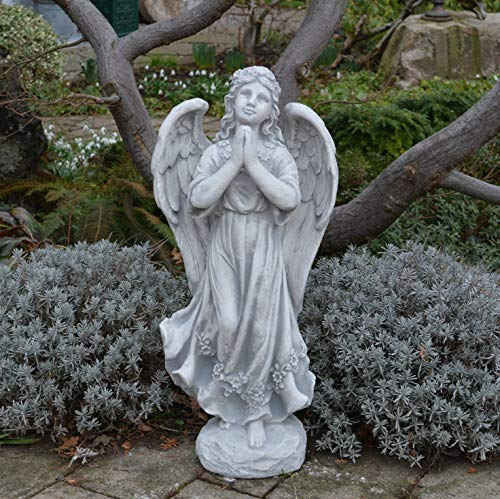gartendekoparadies.de Große Steinfigur Statue Engel auf Stein Steinguss frostfest Grabdeko