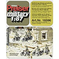 Preiser 1/87 ème - PR16596 - Railway Modelling - 6 Miniature soldati tedeschi in bicicletta