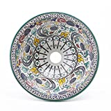 Orientalisches Keramik Waschbecken Ø 35 cm handmade handbemalt handgemacht handgetoepfert Waschbecken Fes90