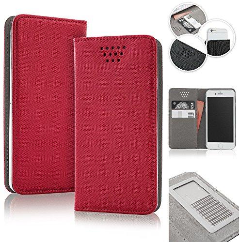 Bralexx universelle Bookstyle-Tasche Hülle Case Cover 2x Kartenfach, 1x Geldfach, praktische Foto-Funktion, verdeckter Magnetverschluss (5,5-5,7 Zoll max. 160 x 80 x 10 mm, Rot)