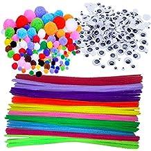 Wartoon - pompones y bastoncillos de chenilla, ojos artificiales, adhesivos y móviles, adornos para manualidades, 500 unidades