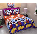 Sky Tex Multi Color Poly Cotton Cartoon Printed 140 TC Queen Sized Double Bed Sheet With 2 Pillow Cover