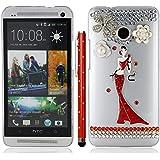 Griffel Kugelschreiber stylus pen bling rot bodenlangen Kleid Dame blume kristall strass strasssteine diamant hülle schale abdeckung case cover housing für HTC One M7
